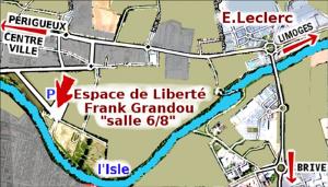 plan d'accés espace Frank Grandou schématisé